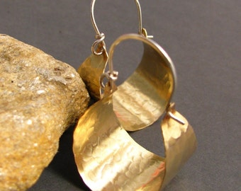 Hammered Brass Hoops, Basket Hoop Earrings, Brass And Sterling Silver Earrings,  Contemporary Metalwork Earrings, Mixed Metal Earrings