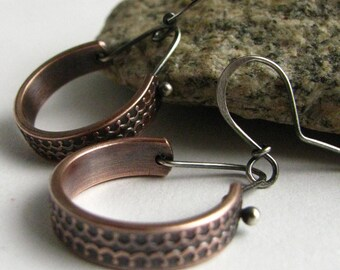 Copper Earrings, Rustic Jewelry, Metalwork Earrings, Mixed Metal Silver And Copper Hoop Earrings, Contemporary Casual Modern Jewelry