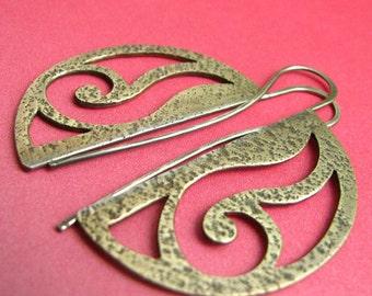 Mixed Metal Earrings, Art Nouveau Contemporary Earrings, Sterling Silver And Bronze Earrings, Artisan Metalsmith Jewelry, Metalwork Earrings