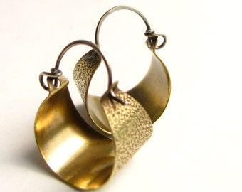 Small Brass Hoops, Basket Hoop Earrings, Sterling Silver And Brass Earrings, Mixed Metal Jewelry, Contemporary Earrings, Minimalist Jewelry