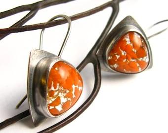 Orange Earrings,  Vintage Japanese Glass Earrings, Contemporary Sterling Silver Earrings, Artisan Metalsmith Earrings, Modern Earrings