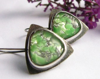 Contemporary Earrings, Green Earrings, Vintage Japanese Opal Glass Cabochon Earrings - Sterling Silver Earring , Metalsmith Modern Jewelry