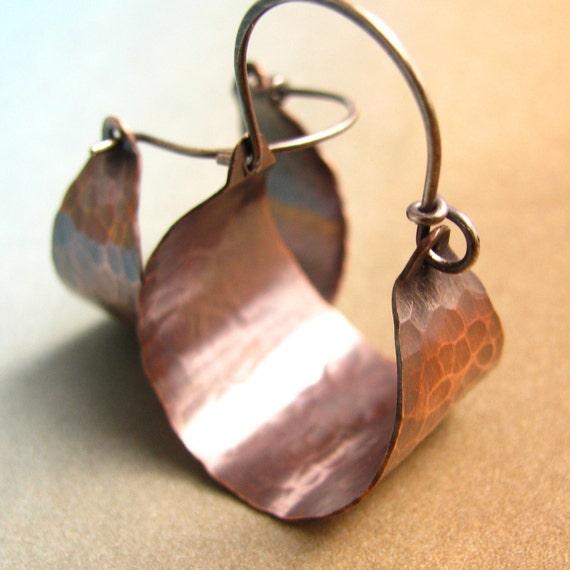 Rustic Copper Hoops, Mixed Metal Earrings,  Basket Hoop Earrings, Copper Earrings, Sterling Silver And Copper Jewelry, Hammered Earrings