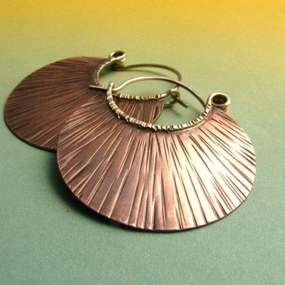 Metalwork Copper Hoop Earrings, Mixed Metal Jewelry, Rustic Earrings, Textured Sterling Silver And Copper Earrings, Metalsmith Jewelry