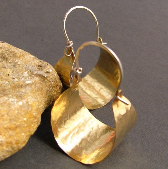 hammered brass hoops basket hoop earrings brass and sterling