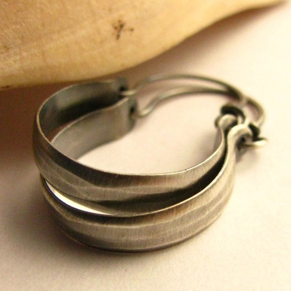 Classic  Beauty - Hammered Small Sterling Silver Hoop Earrings