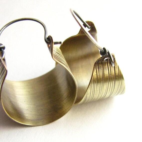 Hoops, Mixed Metal Earrings, Hoop Earrings, Sterling Silver And Brass Earrings Basket Hoops, Brass Hoops, Basket Earrings, Metalwork Earring