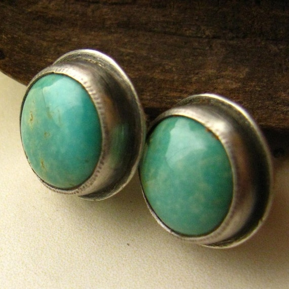 Kingman Turquoise And Oxidized Sterling Silver Post Earrings