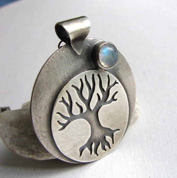 Tree Of Life Necklace -  Rainbow Moonstone Necklace - OOAK Sterling Silver Art Jewelry - Talisman Necklace