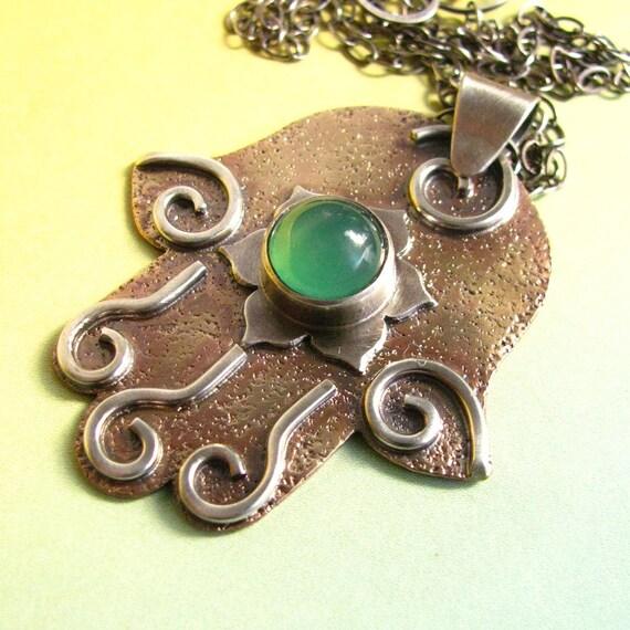 Hamsa Pendant Bronze Sterling Silver Green Chalcedony Hand Of Fatima Lotus Necklace OOAK  Artisan Metalwork  Jewelry