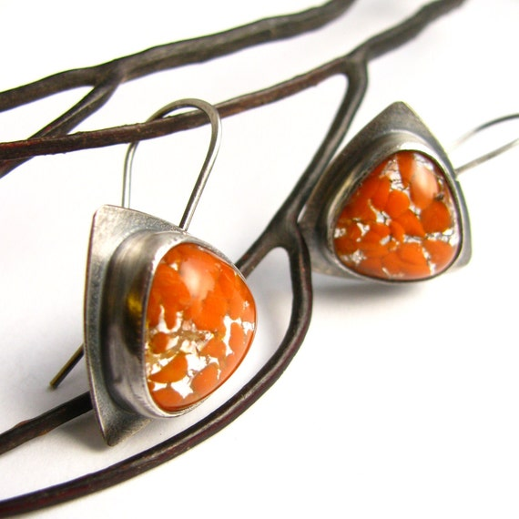Orange Earrings,  Vintage Japanese Glass Earrings, Contemporary Sterling Silver Earrings, Artisan Metalsmith Earrings, Modern Earrings