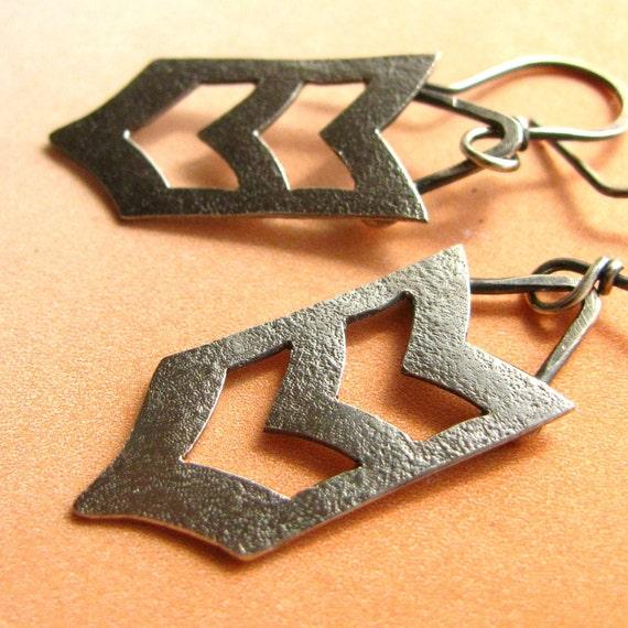 Sterling Silver Chevron Earrings - Metalsmith Earrings - Argentium Silver Jewelry - Small Tribal Earrings