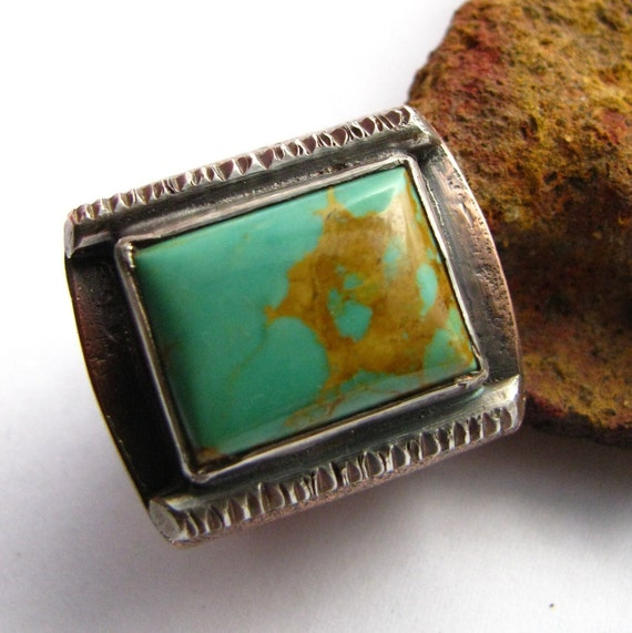 Unisex Turquoise Ring - Turquoise, Fine Silver And Copper Ring - Metalsmith Rustic Ring - Size 6 Ring