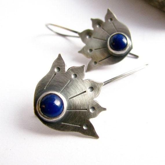Lapis Lazuli Earrings - Sterling Silver Earrings - Tribal Lotus Earrings - Metalsmith Jewelry - Blue Gemstone Lotus Jewelry - Lapis Earrings