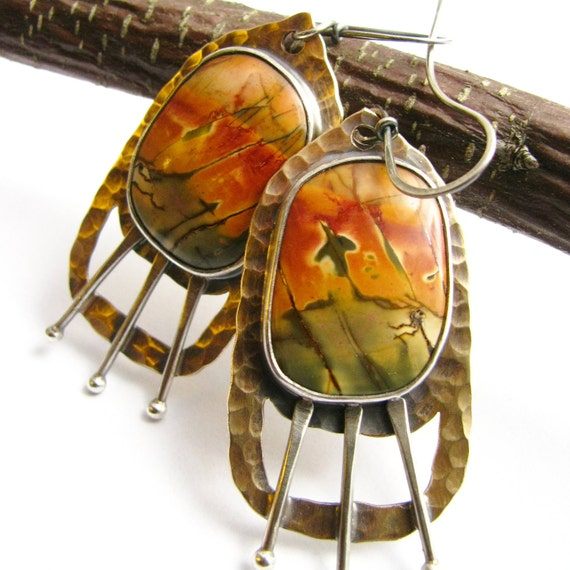 OOAK Artisan Earrings - Phoenix Rising Picasso, Red Or Cherry Creek Jasper Earrings Bronze And Sterling Silver Jewelry One Of A Kind