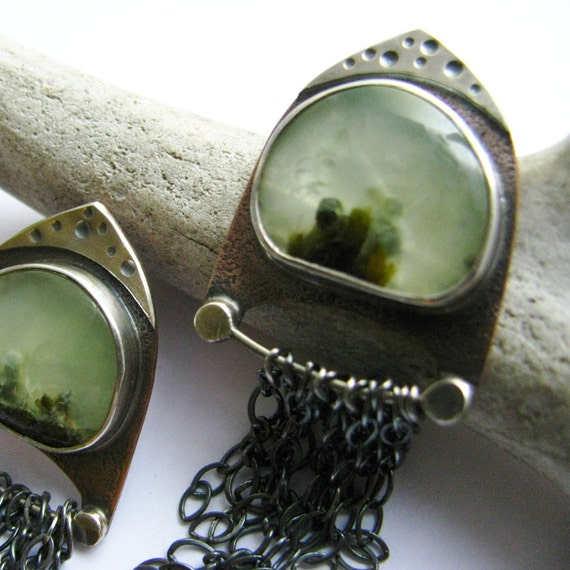 Handcrafted Prehnite Earrings Sterling Silver And Copper One Of A Kind Green Gemstone Artisan Metalsmith Jewelry