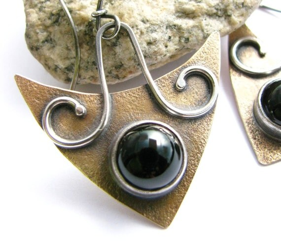 Black Onyx Earrings - Modern Tribal Earrings - Sterling Silver Bronze Contemporary  Earrings -  Mixed Metal Artisan Handcrafted Jewelry