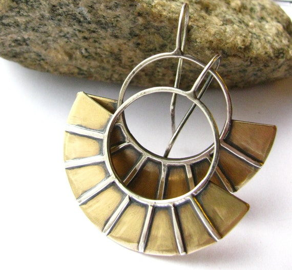 Sterling Silver And Brass Starburst Modern Mixed Metal Earrings Egyptian Inspired Metalsmith Jewelry Handcrafted Earrings