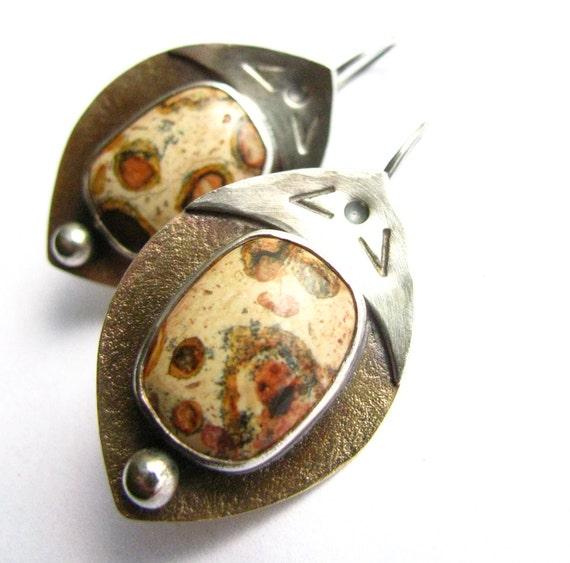 Handcrafted Artisan Earrings Leopard Skin Jasper, Copper And Sterling Silver Shield Earrings - Urban Safari Mixed Metal Stone Jewelry
