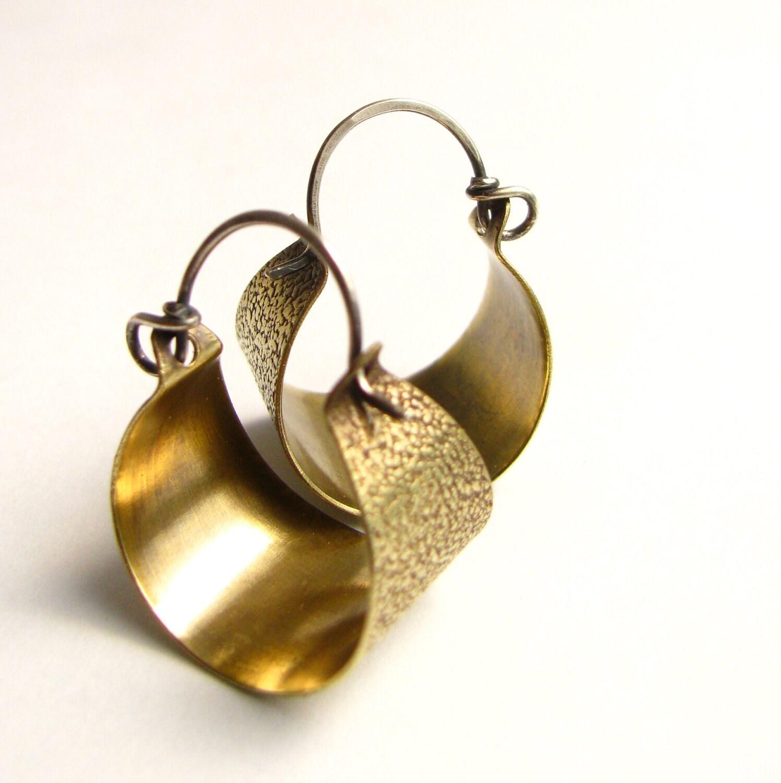 small brass hoops basket hoop earrings sterling silver and