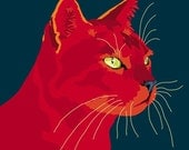 Red Alley Cat print, 9 x 12.5