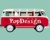Popdesign Van print, 12.5 x 9