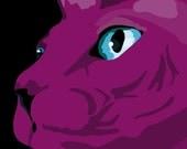 Purple Sphynks Cat print, 9 x 12.5