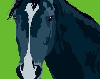 Gray Horse print, 9 x 12.5