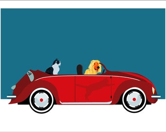 My dream Volkswagen cabrio with a happy afghan hound and a posh cat