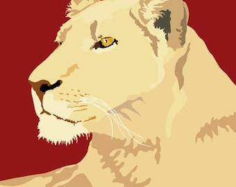 Lioness print, 12.5 x 9
