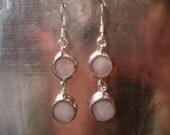 Pink dangle glass earrings