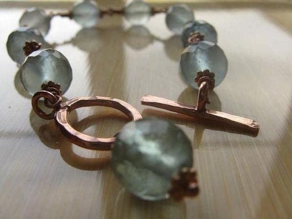 Rosy Blue Bracelet - Fluorite and Rose Gold Vermeil