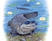 Gator w/Sunglasses Front and Back View on Child's T-Shirt - U Pic Size - Small to XLarge