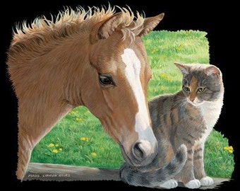 Tan Pony and Tabby Cat on Sweatshirt - U Pic Size and Collar - Small to XXLarge