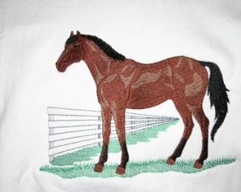 Adult Sweatshirt - Embroidered with a Quarter Horse