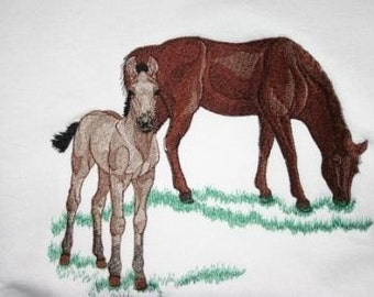 Embroidered Sweatshirt - Horse and Colt