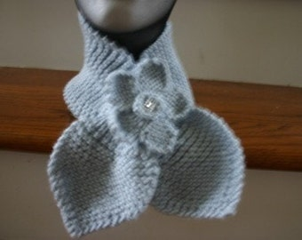 Knitted Lotus Leaf Scarf - Stays Put - Amazing Look To Keep You Warm in Terrific Colors - Silver Blue (Flower Sold Separately)