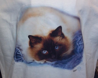 Here's Looking At You - Adult Sweatshirt with a Beautiful Blue Eye Cat - U Pic Size and Collar
