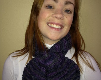Knitted Lotus Leaf Scarf Stays Put - Amazing Look to Keep You Warm in Terrific Colors - Purple Print