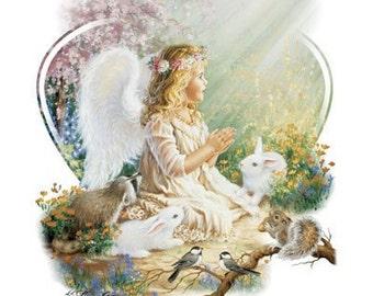 Blond Girl Angel sitting in a garden with animals on sweatshirt