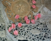 12 Folded Ribbon Memorial Day Hybrid Tea Roses Victorian Shabby Vintage Saucy Steampunk Trim Peach Pink and Moss