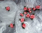 12 Folded Ribbon Social Climber Hybrid Tea Roses Victorian Shabby Vintage Saucy Steampunk Trim Peach Pink and Moss