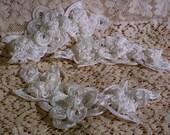 "Vintage Ivory Gimp Ribbon Tape Dimensional Rose Wedding Appliques Pearl Trim PAIR Bridal Shop Destash 5 7/8"" L X 2 1/4"" w B 45"