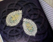 CA 14 Vintage Look Venise Venice Machine Lace Floral Teardrop Large Yellow Green Steampunk Shabby Trim Applique