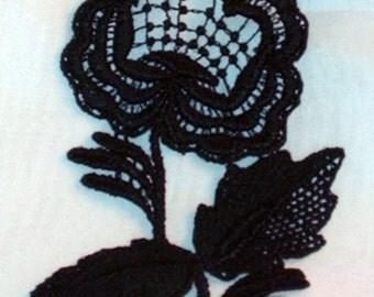 BA 2 Dead Rose Society Black Victorian Gothic Rough Tough Big Girl Lace Rose Appliques Saucy Steampunk Trim