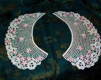 CA 15 School Girl Lolita Collar Pair Venise Lace Schiffli Off White Net Sissy Baby Doll