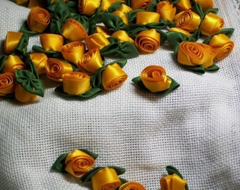 6 Large Eureka Floribunda Rolled Satin Roses Victorian Shabby Vintage Saucy Steampunk Trim Golden Yellow With Cedar Green