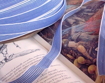 Color Wheel Fold Over Stretch Elastic Soft Comfy Panties Slips Headbands FOE Shiny Iris Blue Stripe 3 YDS