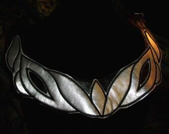 Y 2 Rings Elf Maiden Leatherette Applique Yoke Collar Silver Black