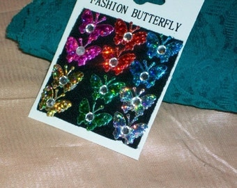 One Dozen Ramped Up Hologram Colors Butterfly Butterflies Spot Velcro Acrylic Jewel Stick Ups